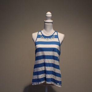 Hollister Blue and White Tank